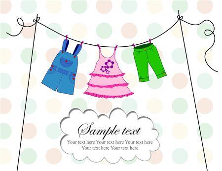 ropa de beb�: Tarjeta de ropa de beb� con puntos de fondo y de texto Vectores