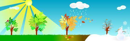 Four seasons vector illustration: spring, winter, fall, summer