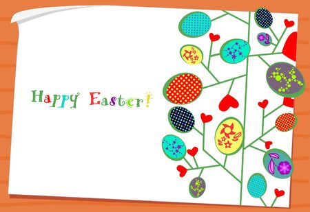 Easter eggs -leaves on paper card wooden background