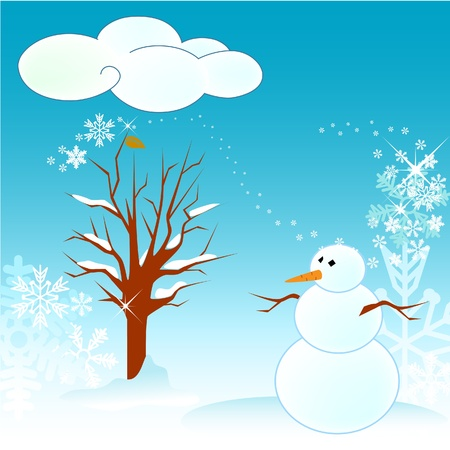 Winter tree vector card and snowman