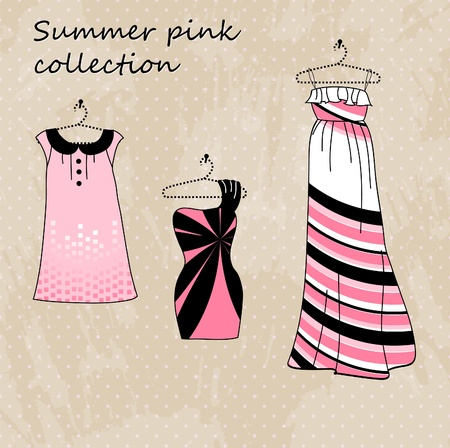 Set of three dresses in pink and black color Illustration