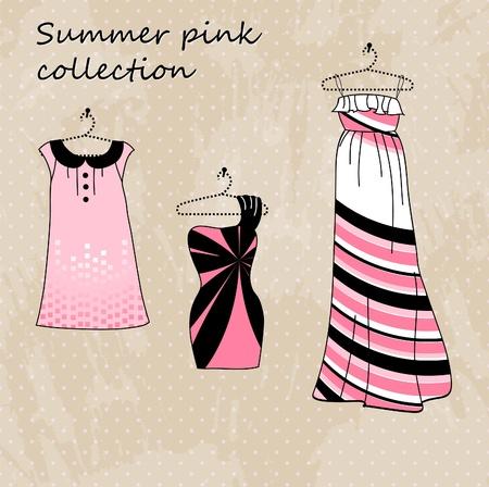 designer clothes: Set of three dresses in pink and black color Illustration