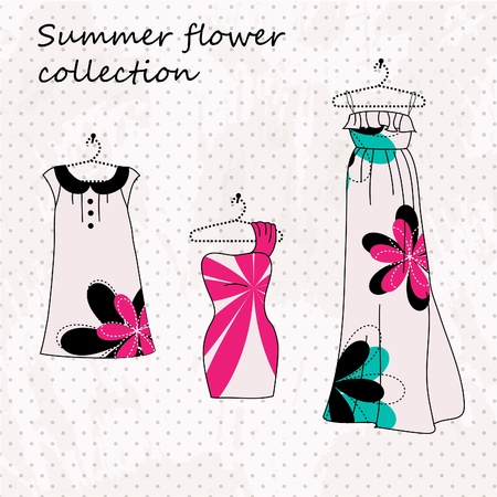 boutique: Set of three dresses in pink color and flowers Illustration