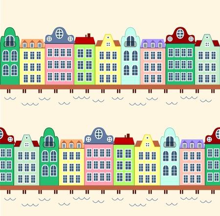 row of houses: Fondo transparente de casas en Fronda de agua azul Vectores