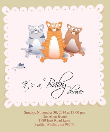 anunciar: Tarjeta de ducha vector beb� con tres gatos y rat�n Vectores