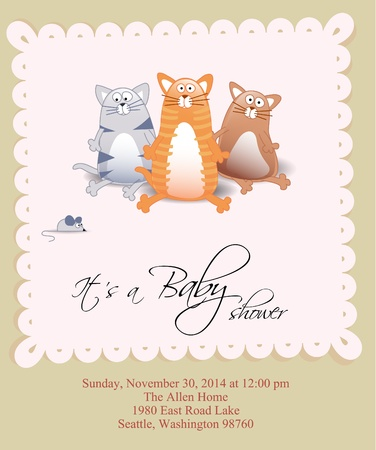 baby stickers: Vector baby shower card with three cats and mouse