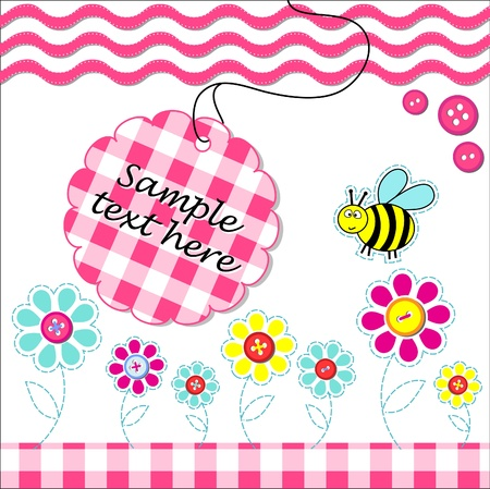 bee party: Vecotr card with scrapbook baby elements and text