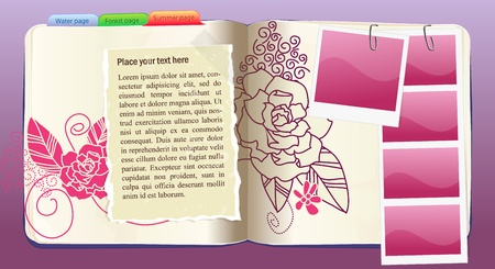note pad and pen: Vector Notebook with flower rose pattern Illustration