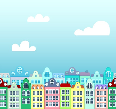 seamless background of houses with sky on back