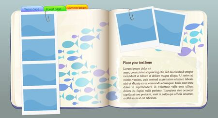 Vector notebook with water and fish in blue colors