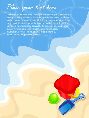 white sand beach: Summer beach background with bucket and shovel and text Illustration