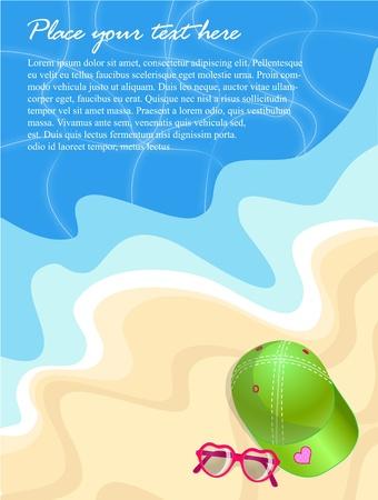 Zomer strand achtergrond met pet en bril en tekst