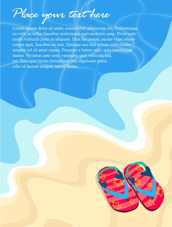 beach illustration: Summer beach background with flops and stars