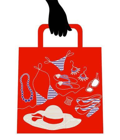 Shopping bag with woman accessories and clothes