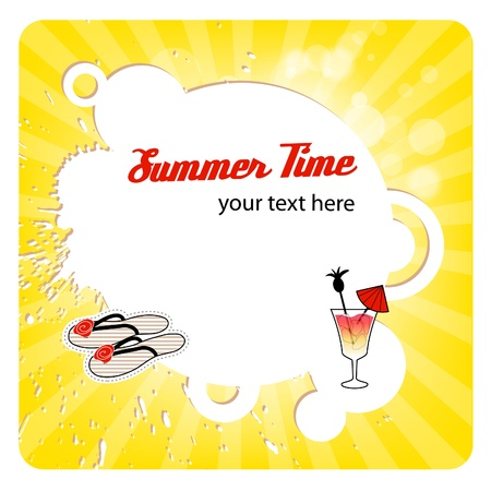 Greeting summer card with round frame in yellow color