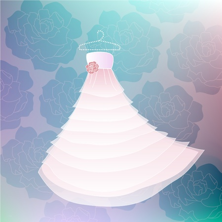 Vector Wedding white dress with rose background in blue colors