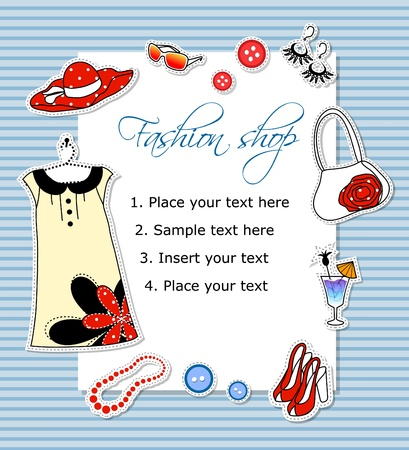 fashion label: Fashion card with clothes Illustration