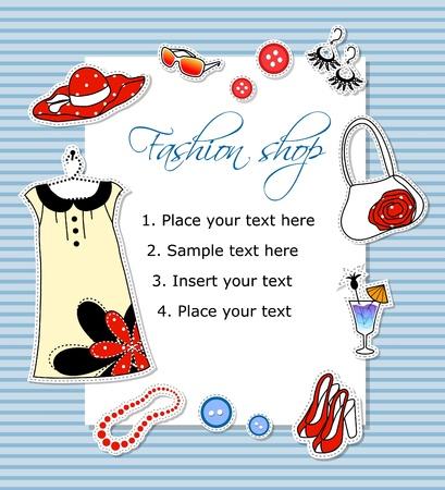 ropa de verano: Tarjeta de moda con ropa Vectores