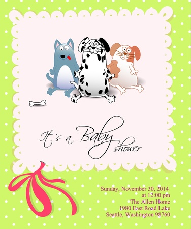 Baby shower with dogs on green background with dots Illustration
