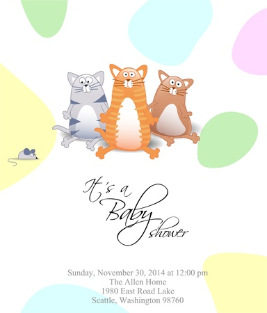 Baby shower with cats and colored dots Vector