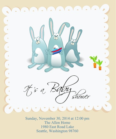 Baby boy shower card with boat Stock Vector - 10469688