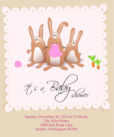 Baby girl shower card with knitting Stock Vector - 10469692