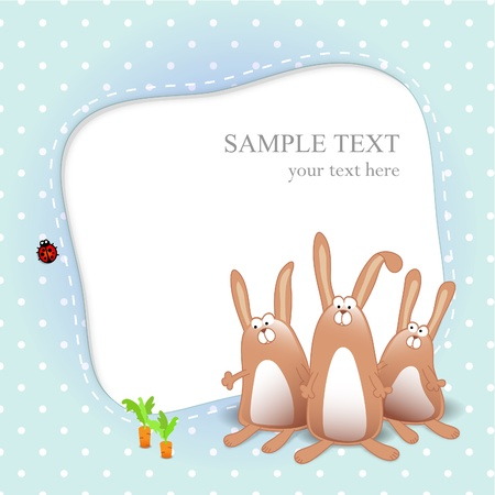 baby animal cartoon: Baby boy card with cartoon rabbits on blue background Illustration