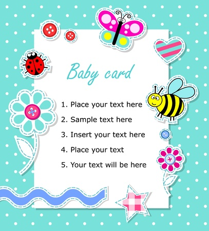 Baby card with scrapbook elements and text Vector