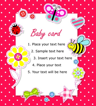happy birthday girl: Baby girl card with scrapbook elements and text