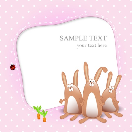 Baby girl card with cartoon rabbits on pink background