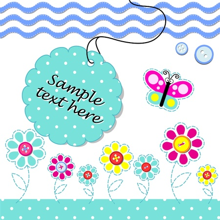 card with scrapbook baby elements and text Stock Vector - 10713355