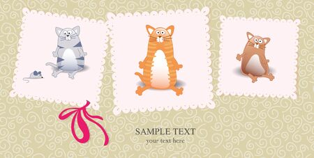 new born baby girl:  cards with cats and bow on it and text Illustration
