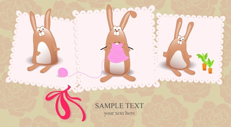 cards with rabbits and bow on it and text Vector