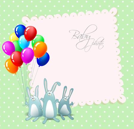 happy birthday baby: felicitaci�n de cumplea�os feliz con conejos y globos Vectores