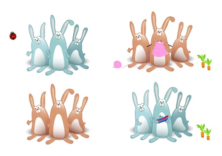 set of four rabbits Vector