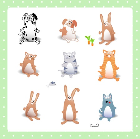set of animals: cats, dogs, rabbits