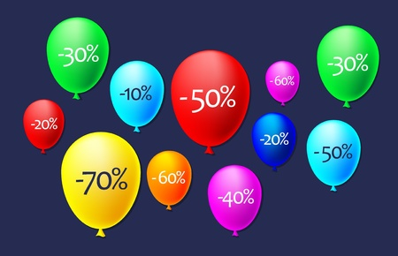 illustration of balloons with discounts Illustration