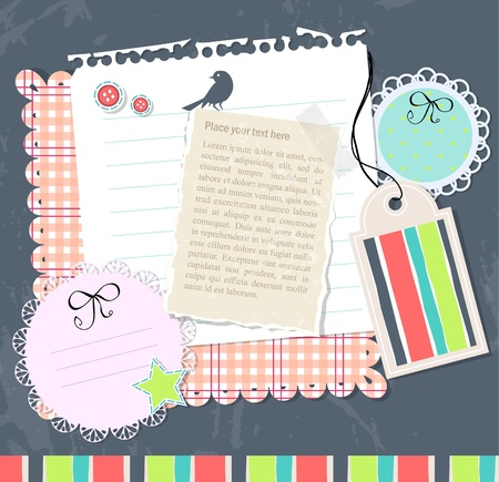 doodle frame: Vector scrabook set of elements with text paper Illustration