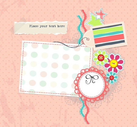 Vector scrapbook pagge for girl album with ribbon Vector
