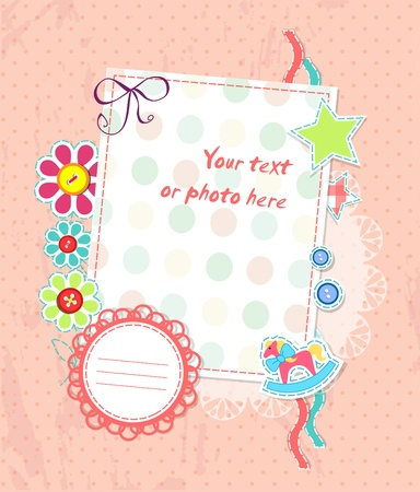 Vector scrapbooking card for baby
