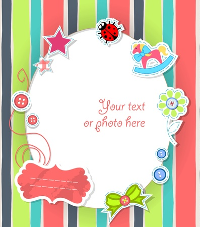 animal border: Vector scrapbooking card for baby in color