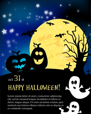 Vector Halloween card with pumpkins
