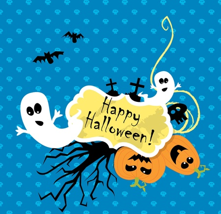 Vector Halloween scrapbooking card with pumpkin