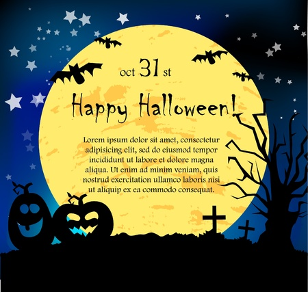 Vector Halloween card with pumpkins Vector