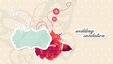 Wedding invitation scrapbooking card with text Vector