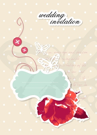 Wedding invitation scrapbooking card with text Stock Vector - 10915668