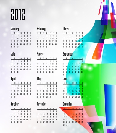 2012 Calendar starts on Sunday