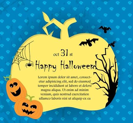 Halloween card with pumpkins  Illustration