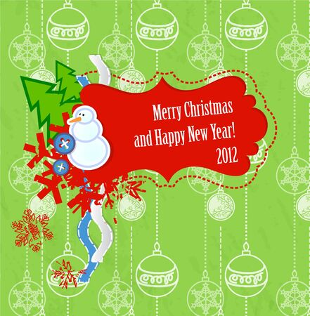 scrapbook Christmas and New Year card Illustration
