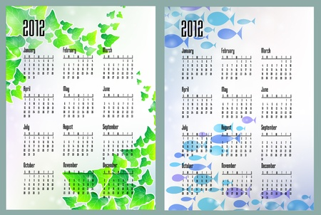 Two calendars with leaves and sea